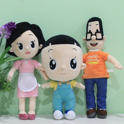 大头儿子小头爸爸动画片同款玩偶公仔幸福一家人图片