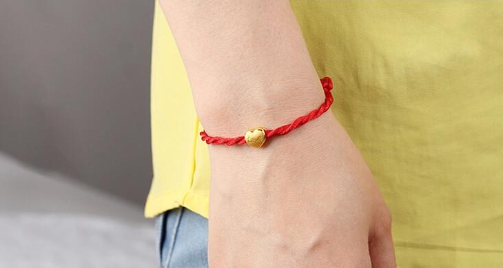 心型转运珠3d硬足金手链本命年红绳