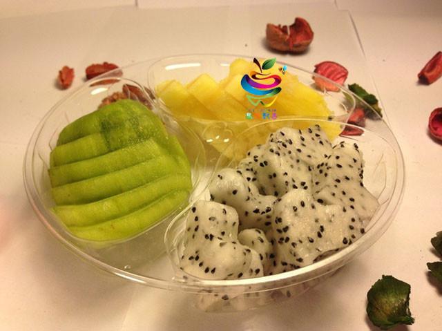 鲜果切(火龙果+奇异果+菠萝)1盒水果拼盘图片