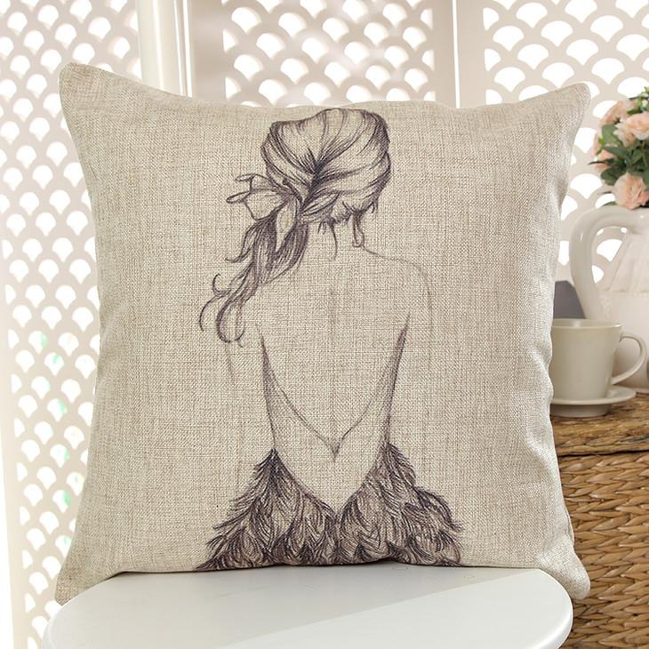 简笔画美女背影裙子设计图棉麻宜家沙发汽车靠垫抱枕