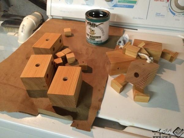 废木头diy机器人玩具
