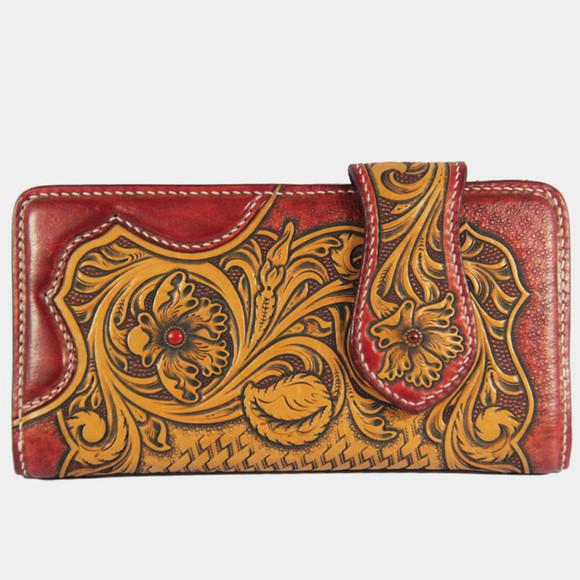 中国文化唐草皮雕包纯手工植鞣革头层牛皮雕刻原创钱包 皮雕钱包