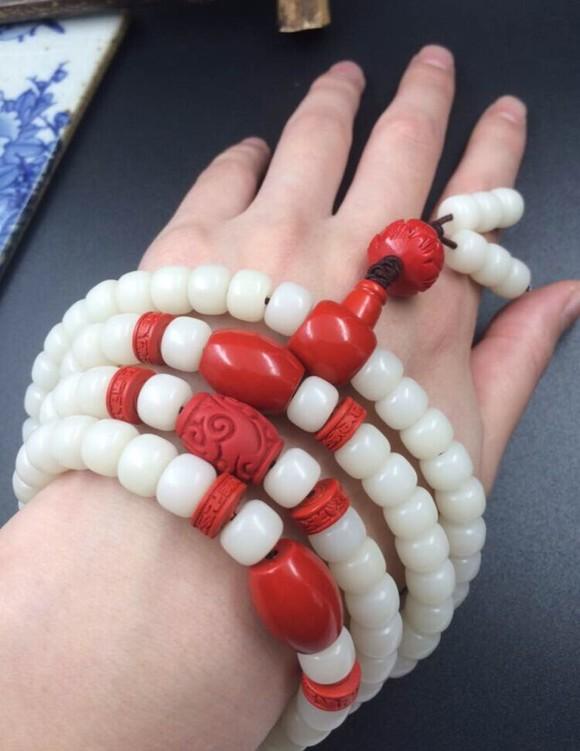 朱砂藏式天然白玉菩提根手串 本命年桶珠菩提根手链天然海南菩提图片