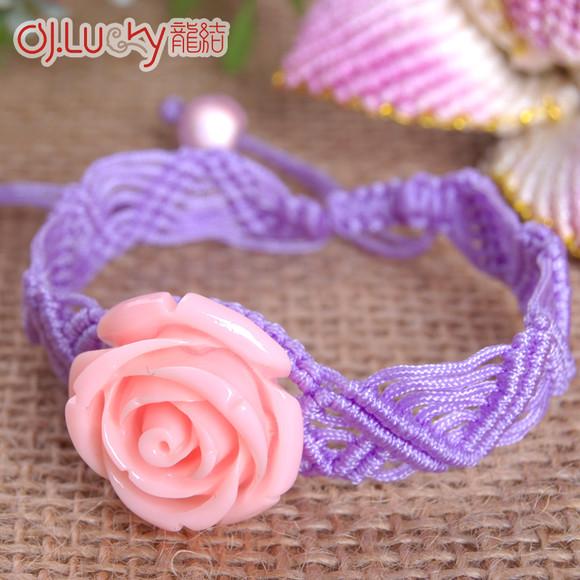 龙结饰品新款玫瑰花朵绳编女式手链民族风国结手绳diy