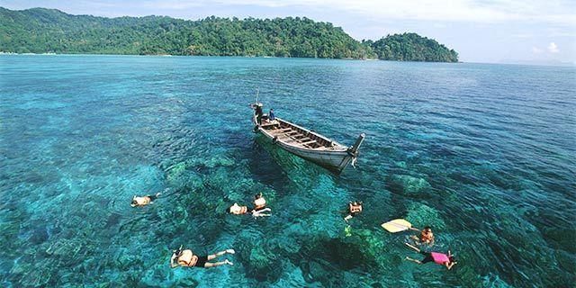 泰国普吉珍珠岛+翡翠岛双岛游浮潜海钓bbq晚餐一日游