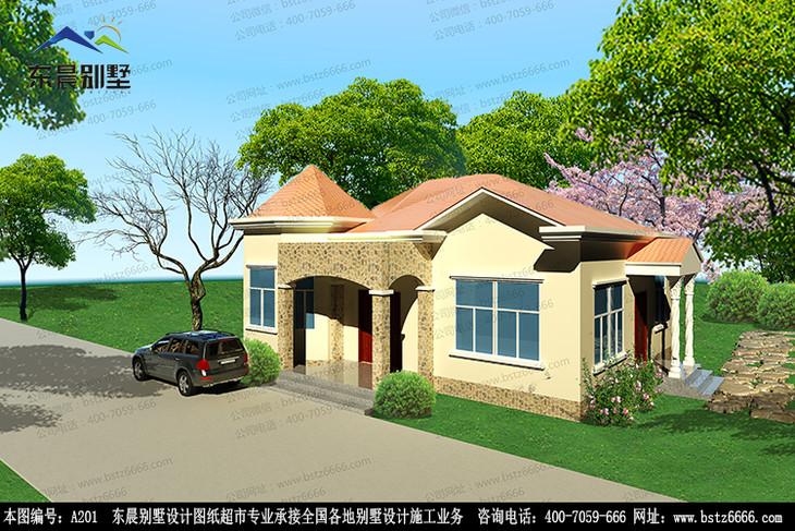 a201】一层农村简约中式自建房别墅设计建筑施工图纸