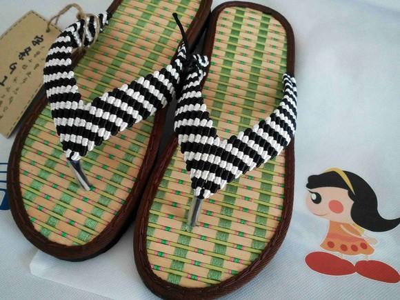 字条女孩纯手工制作传统中国节线人字拖鞋