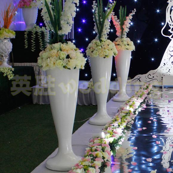 2015年新款路引婚庆塑料欧式路引8028白色花瓶路引