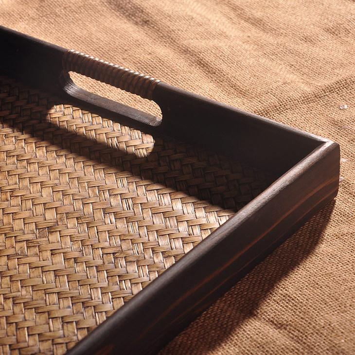 木质工艺品手工创意竹编托盘