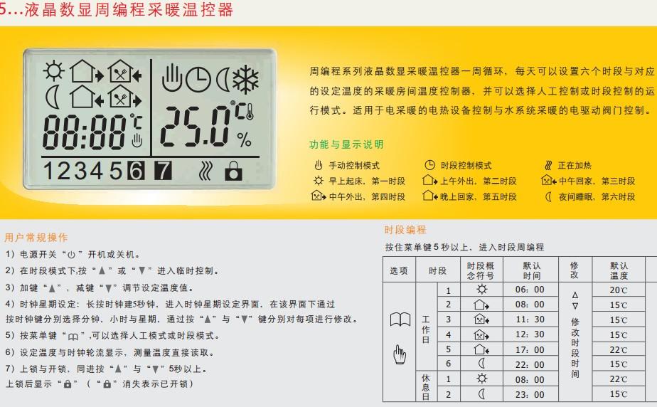 曼瑞德水地暖温控器 智能周编程 液晶显示温控面板水暖用e51.713