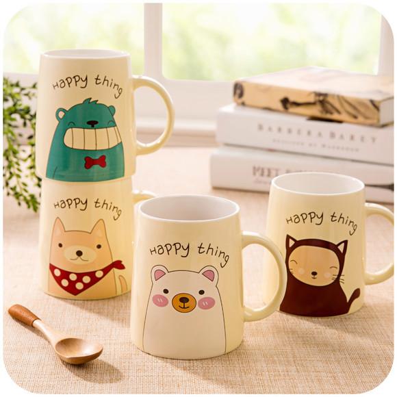 居家家 韩版可爱小动物情侣陶瓷杯子 创意马克杯早餐杯牛奶杯水杯