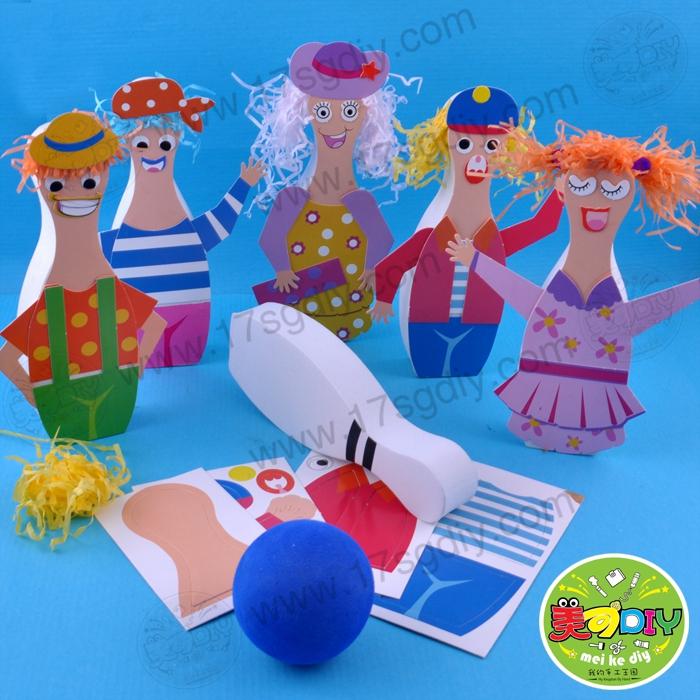 创意人物保龄球 幼儿园手工diy材料批发美可儿童游