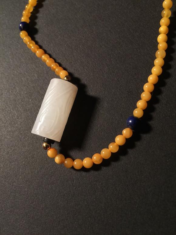 玉管搭配蜜蜡项链