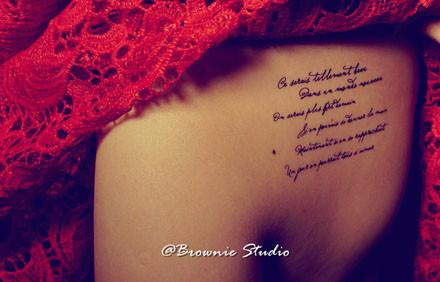 字母纹身贴纸 法文 羽毛 款式四