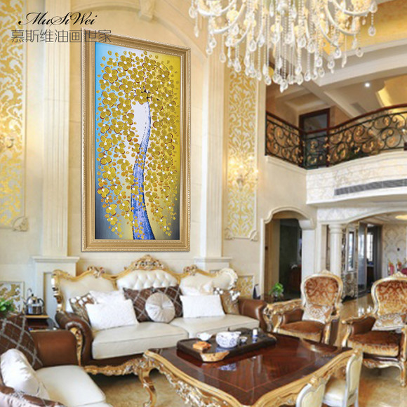 发财树油画欧式风景抽象手绘定制挂画走廊客厅装饰画
