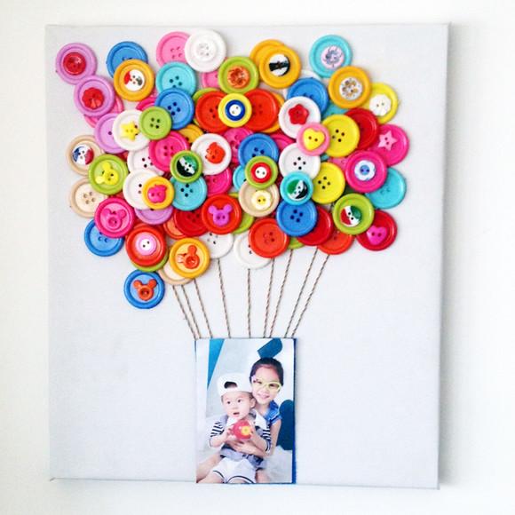 亲子互动 diy纽扣装饰画 儿童创意手工 热气球相框扣子画材料包