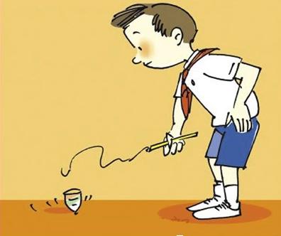 使用方法:先用小鞭缠绕在陀螺上,放置于地面上,左手轻按陀螺上部