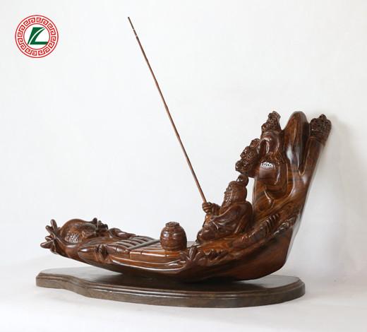 大红酸枝渔船木雕