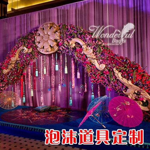 婚庆道具欧式婚礼罗马柱泡沫雕塑拱门卡通森系泡雕