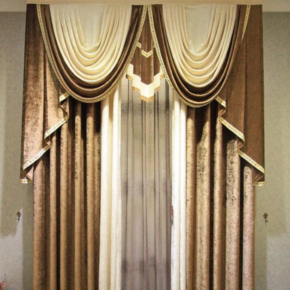 高档欧式美式客厅卧室纯色拼接雪尼尔别墅洋房窗帘