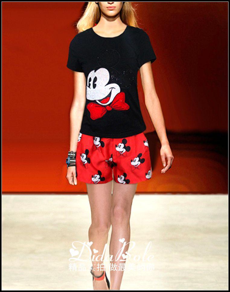 2015夏季欧美大牌女装走秀款烫钻默契圆领短袖t恤 印米奇短裤套装
