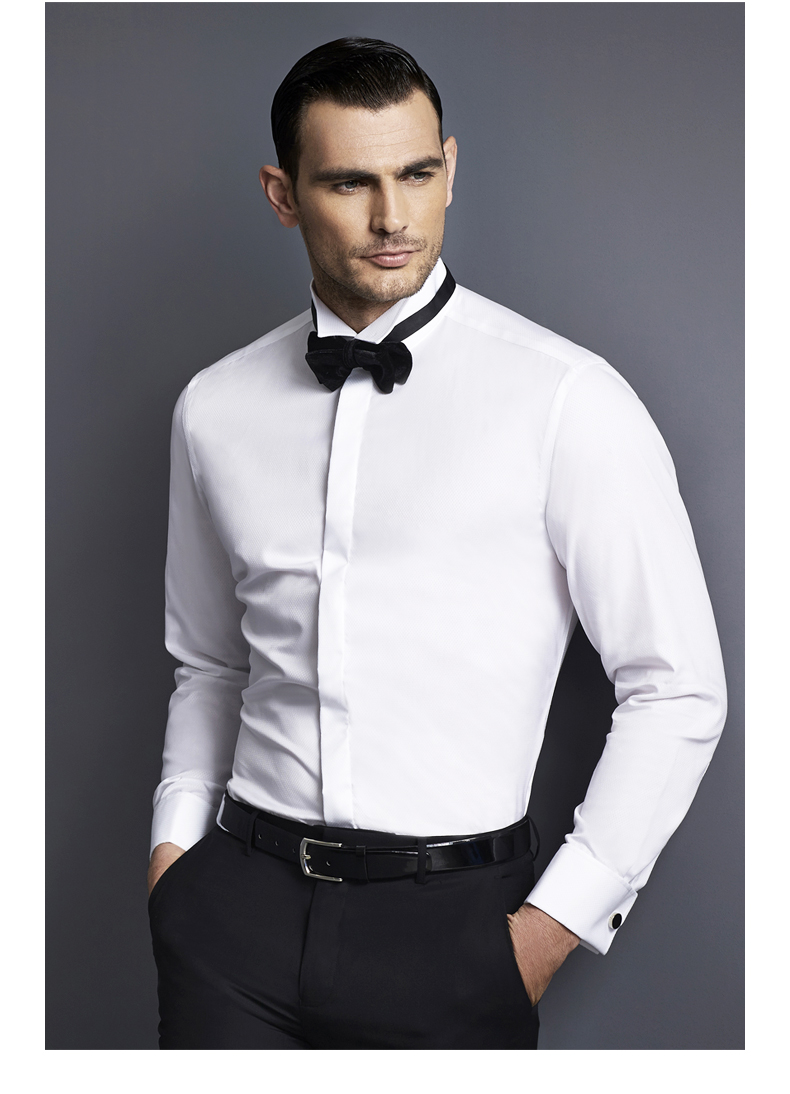 hany法式衬衫男士礼服领结衬衫燕子领结婚婚礼白衬衫