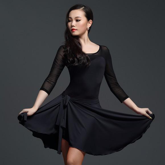 尚芭菲 拉丁舞一片裙新款拉丁舞裙女l235 国标舞蹈短裙拉丁舞臀巾