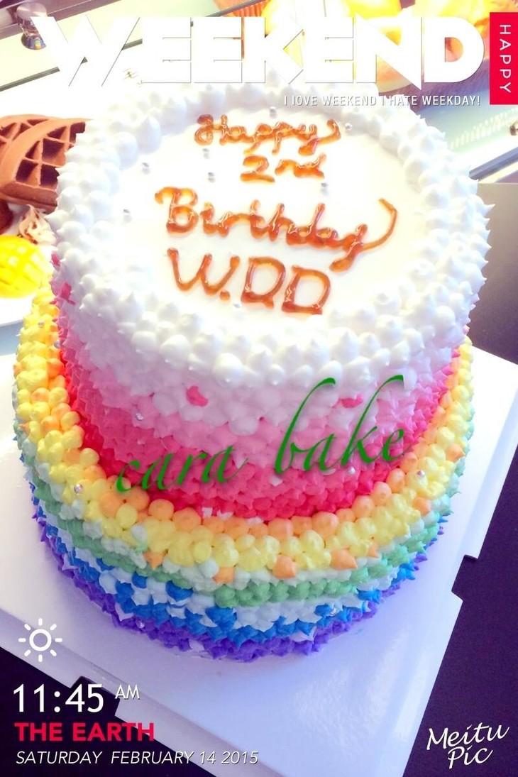 双层彩虹蛋糕(内外彩虹)图片