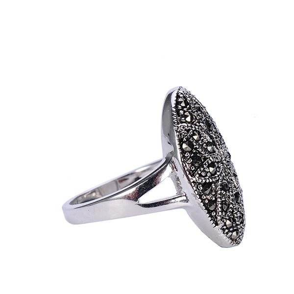 fascinez黑色复古欧式雕花铜戒指