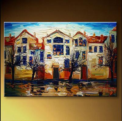 原创手绘抽象简约欧式后现当代风景油画装饰画《雨后小镇》