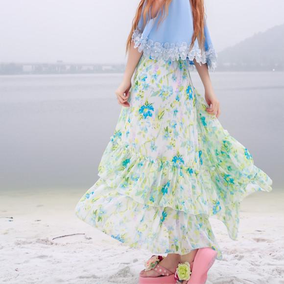 花朵波西米亚半截长裙图片