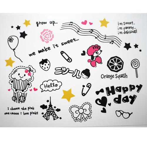 韩国刺青小清新图案防水纹身贴纸男女音符玫瑰花儿童英文字母款二