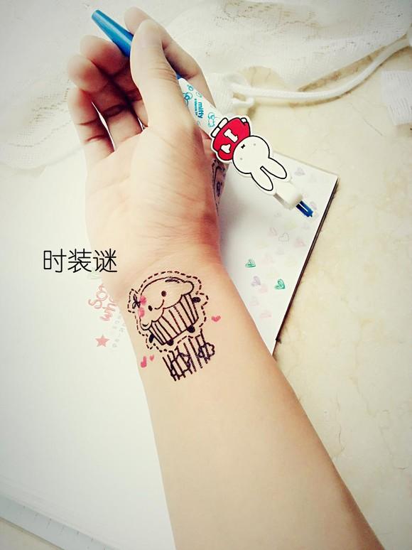 韩国刺青小清新图案防水纹身贴纸男女音符玫瑰花儿童英文字母 款式一