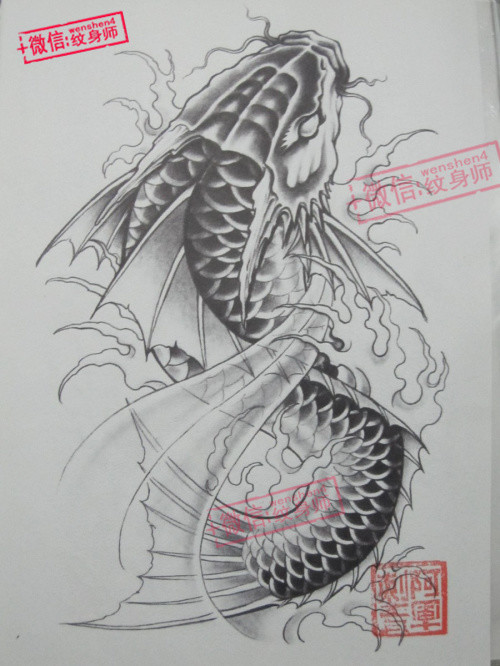 鱼 黑白传统 - 纹身图案