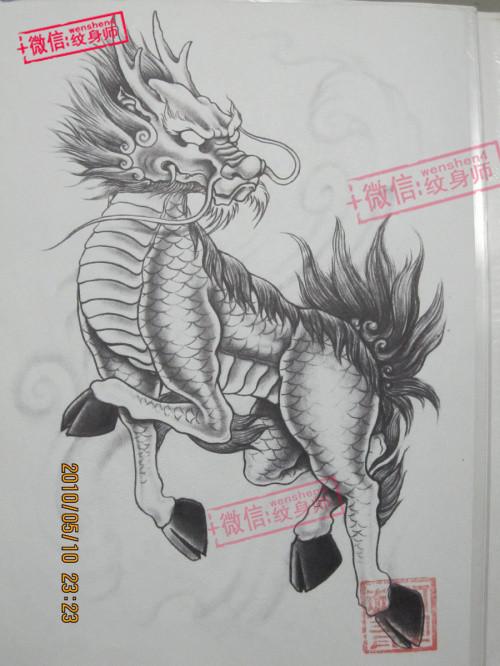麒麟 黑白传统 - 纹身图案