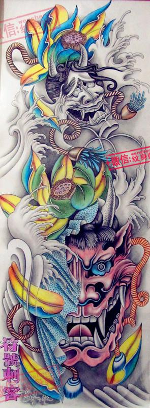 双头般若纹身手稿分享展示