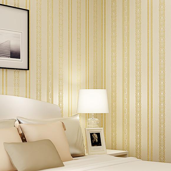 无纺布卧室客厅简欧式3d立体竖条纹电视背景墙墙纸 植绒洒金壁纸yy