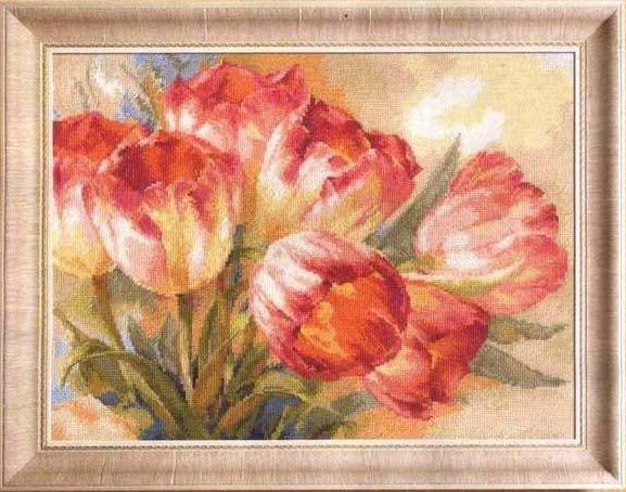 法国dmc十字绣白玫瑰向日葵郁金香欧式油画三选一