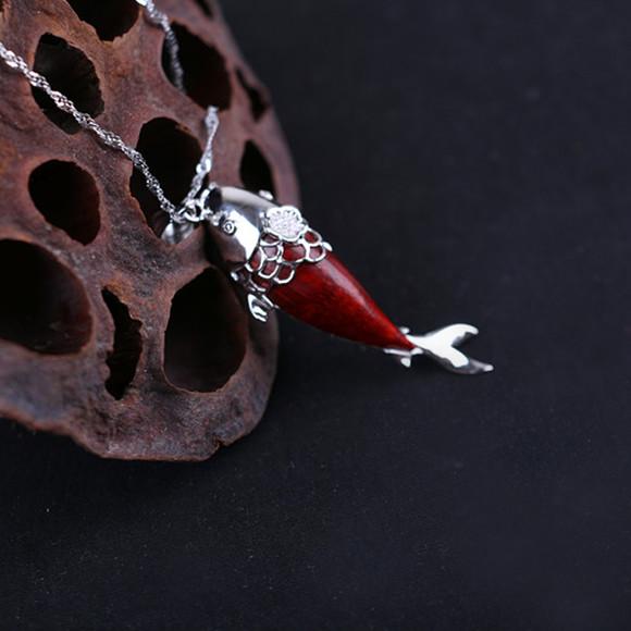 珍典 富贵鱼吊坠 小叶紫檀 珍典创意红木文化饰品