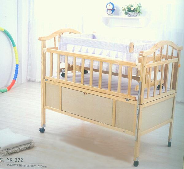 新款带轮送蚊帐sk-372  婴儿床-nbsp;实木】【硕士 儿童床松木带