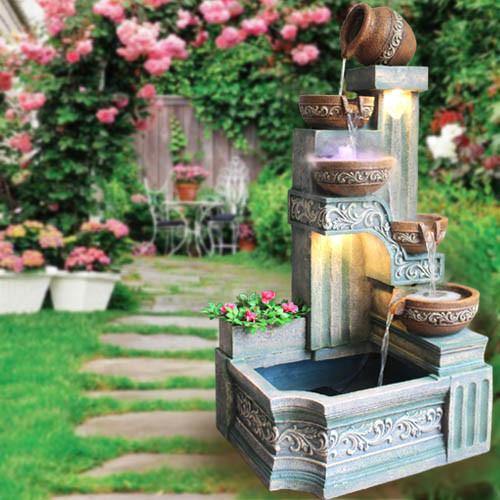 欧式大型落地养鱼池缸庭院花园喷泉流水水景摆设工艺