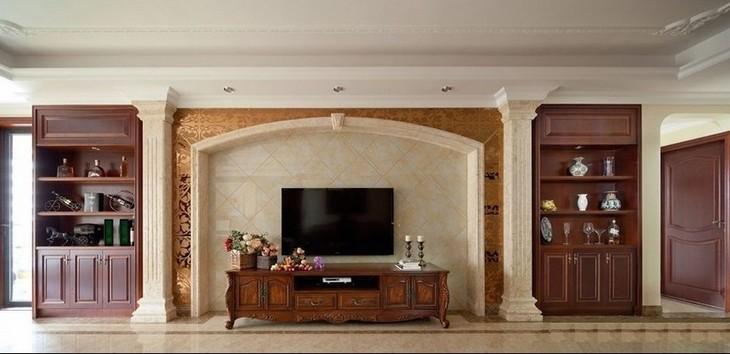 实木客厅背景墙实木柱电视背景墙图片2