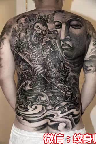 猴子满背纹身图片