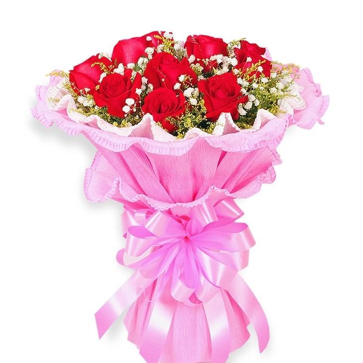 9朵红玫瑰花束精美包装