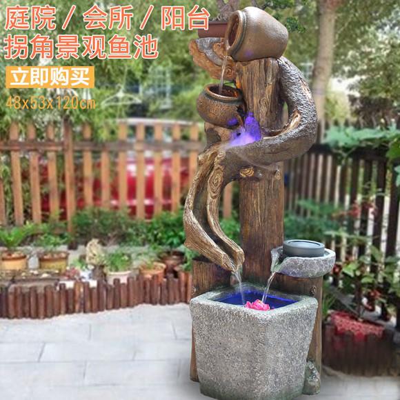假山鱼缸欧式落地家居喷泉流水水景摆设招财风水轮加湿器树脂摆件