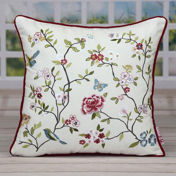 欧式手工刺绣抱枕鸟语花香绣花图案沙发靠枕汽车腰枕厂家直销包邮