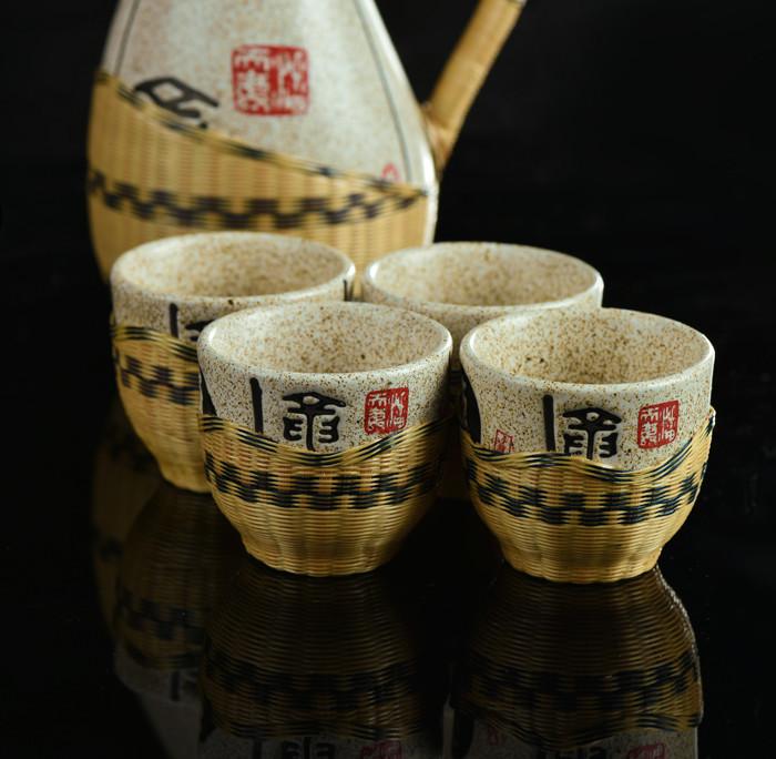 ipanda瓷胎竹编酒具 国家级非物质文化遗产 大熊猫栖息地独有(加微信