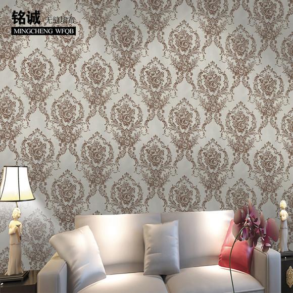 欧式无缝墙布纸提花大马士革电视背景墙客厅卧室过道