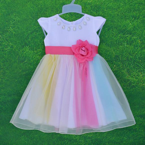 女童短袖连衣裙新款童装纱裙女孩演出礼服蓬蓬裙儿童