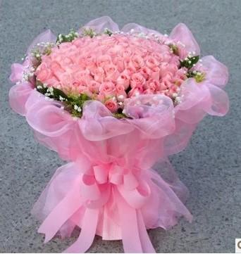 99朵粉玫瑰递赣州丝路花店同城快递生日鲜花预订七夕爱情送花
